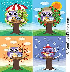 quatre, hiboux, saisons