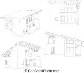 quatre, house., cadre, angle