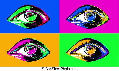 """quatre, humain, coloré, """"animation, eyes"""""""