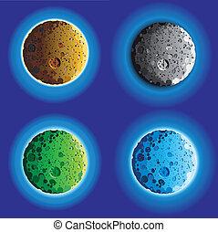 quatre, idiot, surface, lune