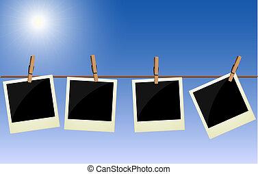 quatre, images, polaroid, pendre