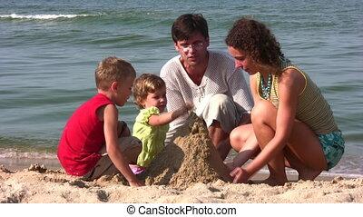 quatre, jeu, sable, famille