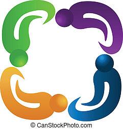 quatre, logo, collaboration, gens