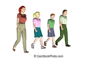 quatre, marche, famille
