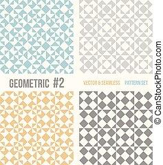 quatre, motifs, géométrique, ensemble