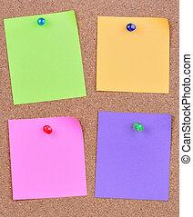 quatre, notes, coloré, vide