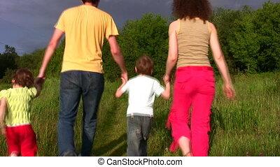 quatre, parc, famille