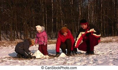 quatre, parc, hiver, famille, jouer