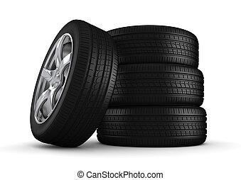 quatre, pneus, gros plan, isolé