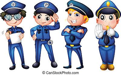 quatre, policiers