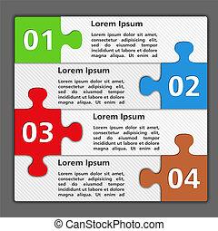 quatre, puzzle, conception, morceaux