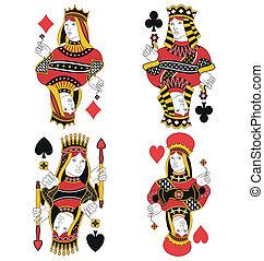 quatre, reines, carte, non