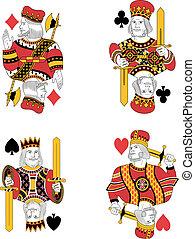 quatre, rois, cartes, non