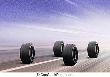 quatre, route, hiver, pneus
