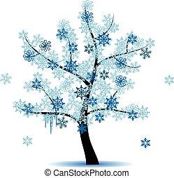 quatre, saison, -, arbre hiver