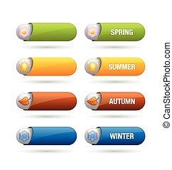 quatre, saison, boutons