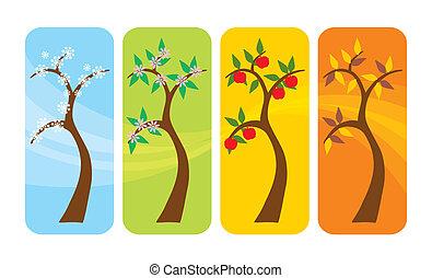 quatre saisons, arbre