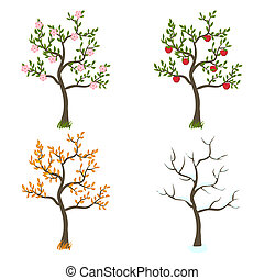 quatre saisons, art, arbres