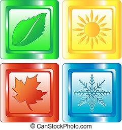 quatre saisons, bouton, toile