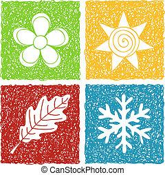 quatre saisons, griffonnage, icônes