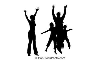 quatre, silhouette, famille, heureux