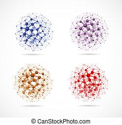 quatre, sphères, moléculaire