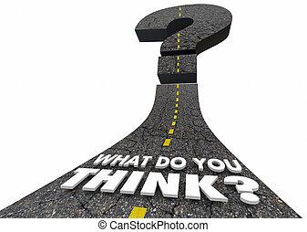 quel, question, illustration, marque, vous, penser, route, 3d