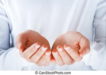 quelque chose, acte, présentation, mains
