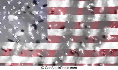 question, américain, faire boucle, drapeau, fond, marques, pilules