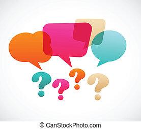 question, bubles, parole, marque