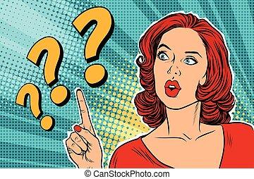 question, femme pensée, marque