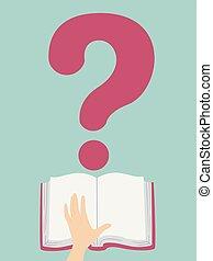 question, illustration, marque, livre, main ouverte