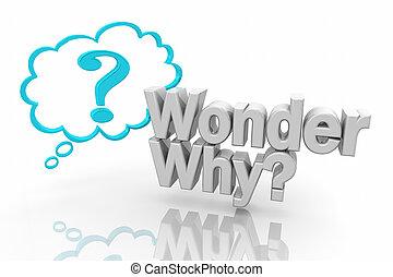 question, illustration, marque, pensée, demander, merveille, pourquoi, nuage, 3d