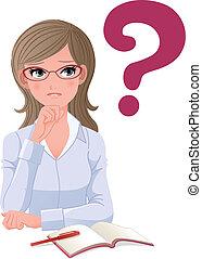 question, lunettes, femme, eyewear