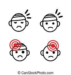question, monde médical, triste, vecteur, etc., migraine, santé, douleur, têtes, bandé, mal tête, set., ensemble, icône, blessure, tête, emoji