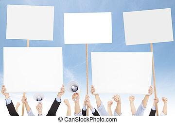 question, ou, gens, contre, foules, social, protested, politique