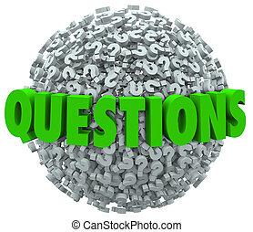 question, réponses, balle, marque, questions, demander, mot
