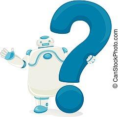 question, robot, illustration, marque