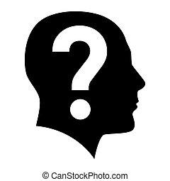 question, visage humain, marque