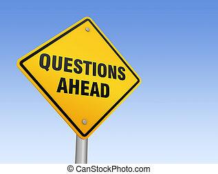 questions, devant, panneaux signalisations