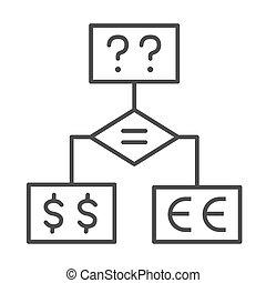questions, investissement, bloc, icône, icône, fond, organigramme, mince, signe, diagramme, stratégie, vecteur, devises, décision, outline., ligne, concept, blanc, diagramme, confection, business, graphics.