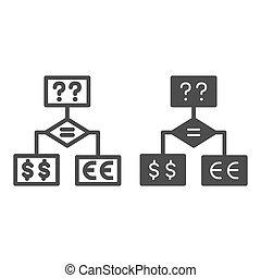 questions, investissement, bloc, icône, icône, fond, organigramme, signe, diagramme, stratégie, vecteur, devises, décision, outline., ligne, concept, blanc, diagramme, confection, solide, business, graphics.