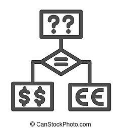 questions, investissement, bloc, icône, icône, fond, organigramme, signe, diagramme, stratégie, vecteur, devises, décision, outline., ligne, concept, blanc, diagramme, confection, business, graphics.