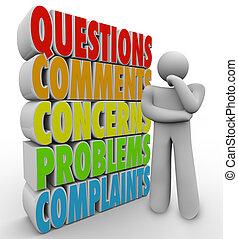 questions, pensée, comments, personne, inquiétudes, mots