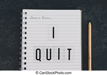 quitter, cher, cahier, patron, message