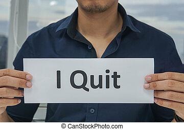 quitter, concept, bureau, business, -, papier, prise, démission, homme