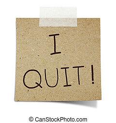 quitter, dessiner, main, note, enregistré, papier, recycler