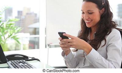 quoique, écriture, sourire, texte, femme affaires, message
