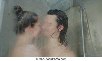 quoique, hôtel, ensemble, moderne, baisers, douche, couple, lavage, beau