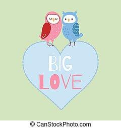 quote., carte, valentin, illustration., hiboux, vecteur, valentines, coeur, grand, agréable, séance, day., amour, couple, dessin animé, romantique, mignon, caractères
